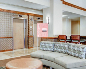lobby seating and elevators