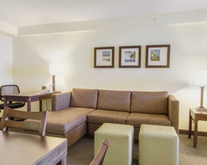 executive two double beds suite living area
